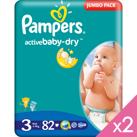 PROMO PAMPERS - Active Baby Dry T3, 2*82 couches (0,2€/couche)
