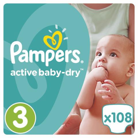 PAMPERS - ACTIVE BABY DRY T3 108 couches (0,22€/couche)