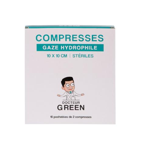 DR GREEN 10 Compresses Gaze hydrophile 10cm x 10cm