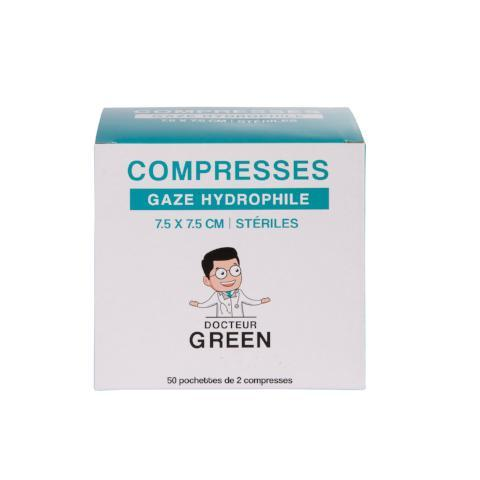 DR GREEN 50 Compresses Gaze hydrophile 7,5cm x 7,5cm