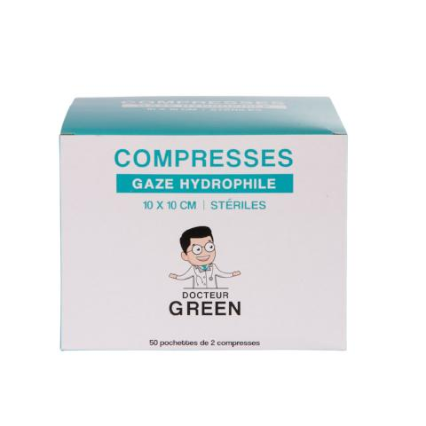 DR GREEN 50 Compresses Gaze 10cm x 10cm