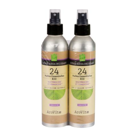 Arovitae - Lot de 2x200ml Spray assainissant 24 huiles essentielles BIO