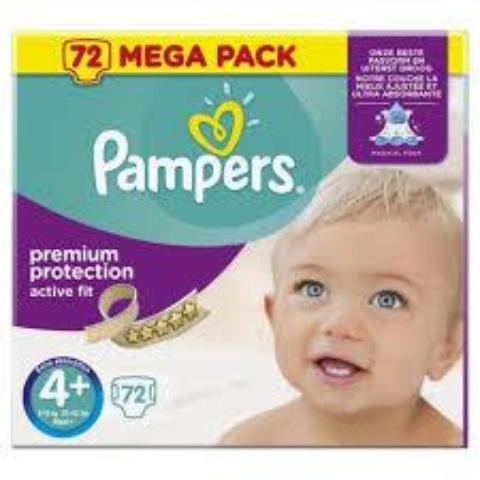PAMPERS - ACTIVE FIT TAILLE 4+ (9-18KG) - 72 COUCHES (0,2€/couche)