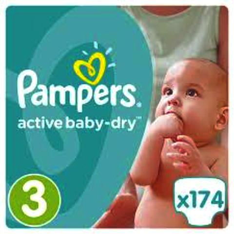 PAMPERS Active Baby Dry T3, 174 couches (0,25€/couche)