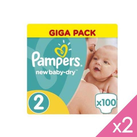 PAMPERS - Lot de 2*100 couches NEW BABY T2 (0,2€/couche)