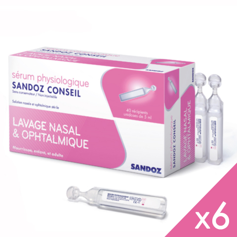 SANDOZ Serum physiologique - Lot de 6x40 Unidoses de 5ml