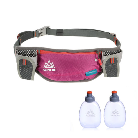 AONIJIE Running Hydration Belt Bottle Holder Belt Reflective Running Water Belt Fanny Pack Waist Packs with Two 170ml Water Bottle