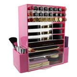 glamO Acrylic Ultimate Makeup Spinning Tower (Pink)