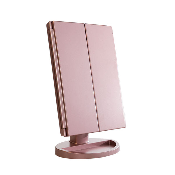Tri Fold Touch and Glow LED Makeup Mirror (Rose Gold)