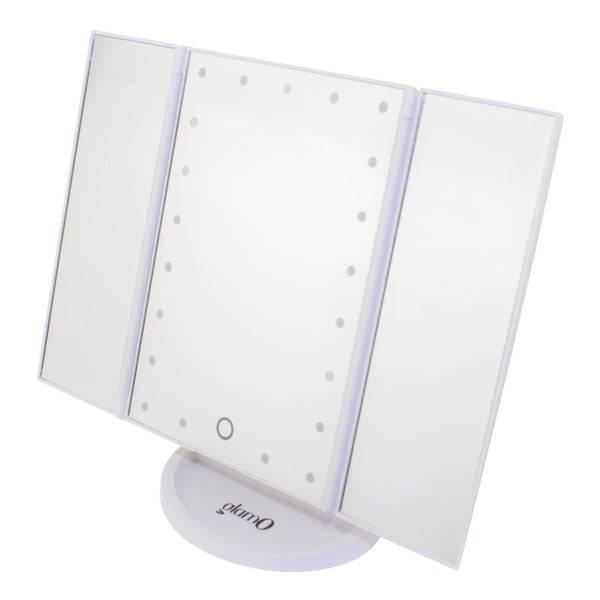 glamO Tri Fold Touch and Glow LED Makeup Mirror (White)