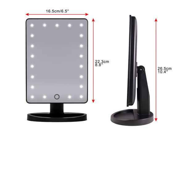 Touch and Glow Dimmable LED Makeup Mirror - HIGH GLOSS (Black, White or Pink Blush)