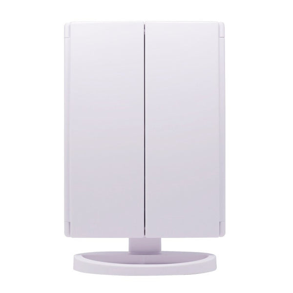 glamO Tri Fold Touch and Glow Makeup Mirror (White)