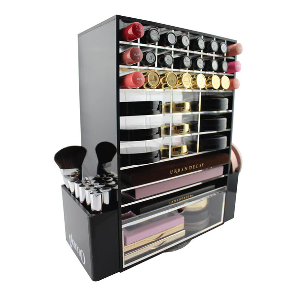 glamO Acrylic Ultimate Makeup Spinning Tower (Black)