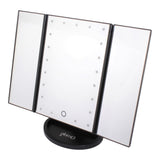 glamO Tri Fold Touch and Glow LED Makeup Mirror (Black)
