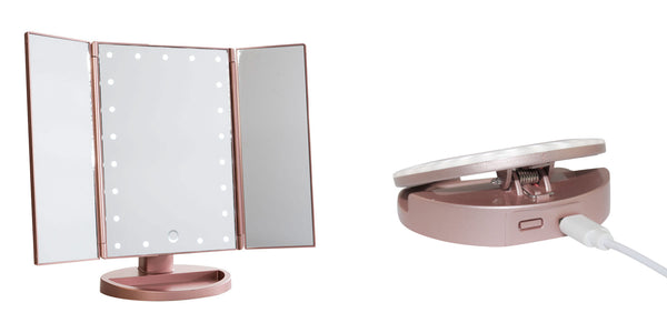glamO Rose Gold Duo: Tri Fold Mirror & Selfie Light Bundle