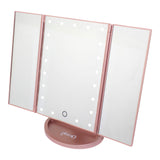 glamO Tri Fold Touch and Glow LED Makeup Mirror (Rose Gold)