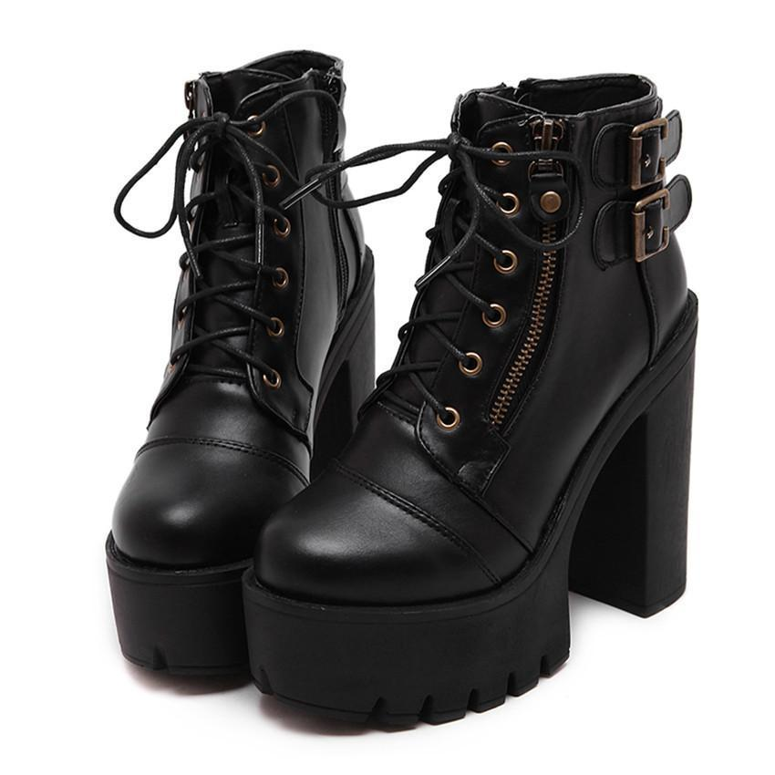 c2d0f6339819 Gothic Ankle Boots Black Platform Shoes – Trends Hill