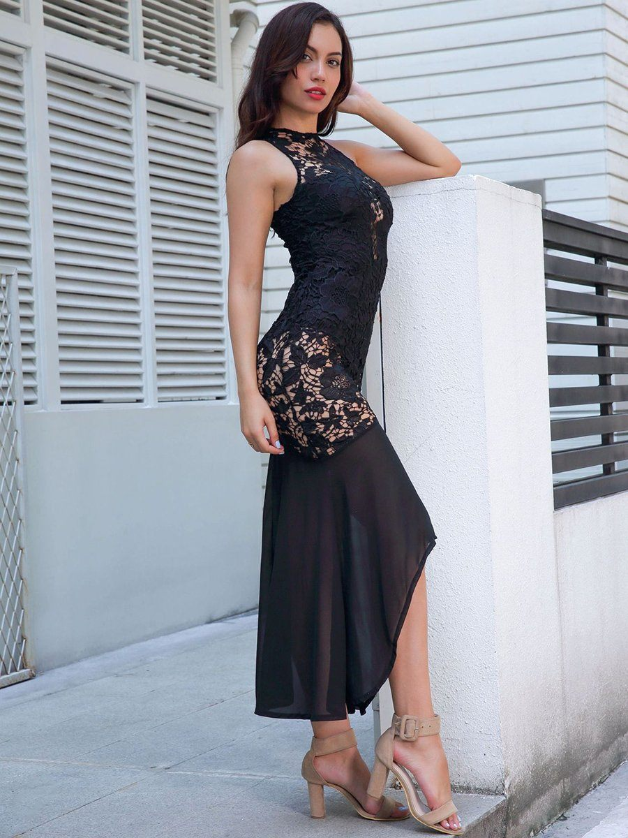 Gothic Sleeveless Lace Dress