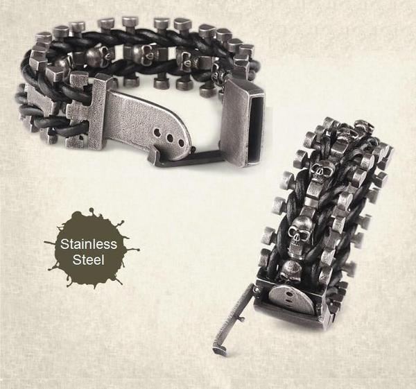 Leather Woven Stainless Steel Skull Bracelet