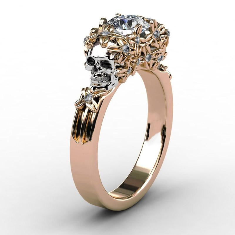 Elegant Skull Flower Ring