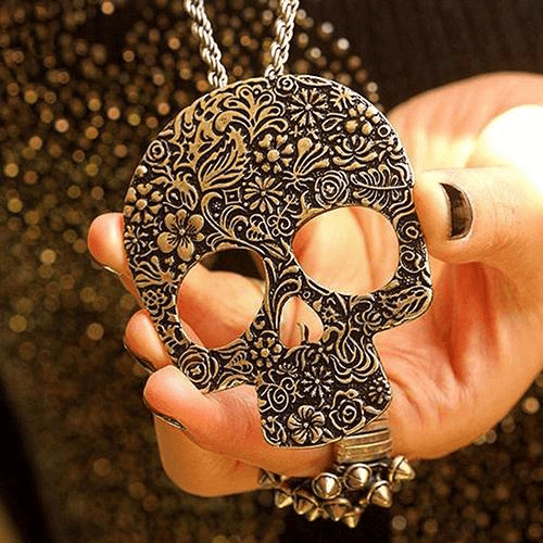 Carved Flowers Skull Necklace