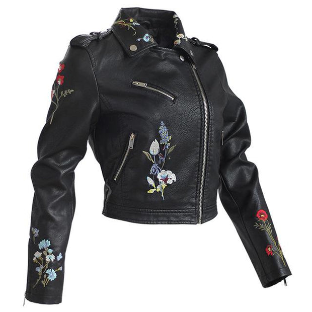 Leather Flower Embroidered Jacket