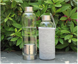 14.8 oz or 18.5 oz Glass Tea/Fruit Infuser Water Bottle w/ Sleeve