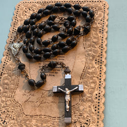 Art Deco French Black Wood Bead Rosary