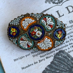 Antique Italian Floral Micro Mosaic Pin
