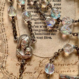 Modern Looking Italian Glass Bead Rosary - Lady Slippers