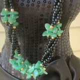 Vintage Black Glass Bead & Green Adventurine Quartz Semi-Precious Gemstone Necklace