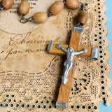 Vintage Olive Wood Jerusalem Cross Rosary