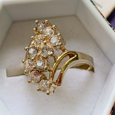 Vintage Clear Rhinestone Cocktail Ring - Lady Slippers