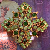 Vintage Green Rhinestone Pin - Lady Slippers