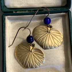 Vintage Lotus & Lapus Lazuli Earrings