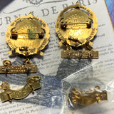 Two Gold Filled Little's Cross & Crown Lutheran Pins 4 Years Attendance - Lady Slippers