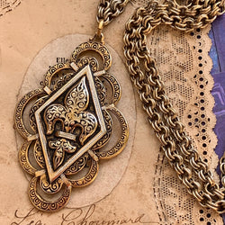 Unique Spanish Damascene Fleur de Lis Necklace - Lady Slippers
