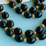 Vintage Trifari Black & Gold Beaded Necklace