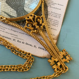 Vintage Florenza Victorian Revival Gold Tone Magnifying Necklace