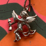 Vintage Beau Sterling Silver Putto Cherub Pendant Necklace - Lady Slippers
