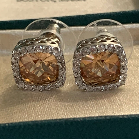 Sterling Silver Soft Brown Semi Precious Gemstone and CZ Earrings