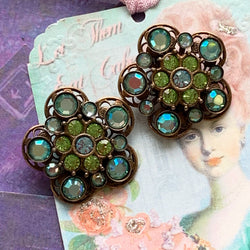 Amazing KIRKS FOLLY RHINESTONE Statement Earrings Clips Cluster - Lady Slippers