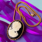 Lady Slippers Original Black & White Cameo Necklace