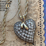 Sterling Silver and Cubic Zirconia Heart Pendant Necklace - Lady Slippers