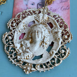 Vintage Gilt & White Enamel Pendant Necklace