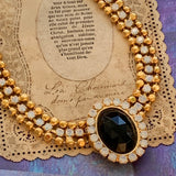 Vintage Ball Chain and Opalescent Rhinestone Necklace - Lady Slippers