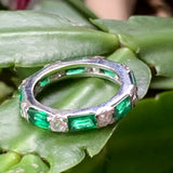 Sterling Silver Green and Clear CZ Ring - Lady Slippers