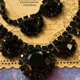 Vintage Black Multi Faceted Rhinestone Necklace - Lady Slippers