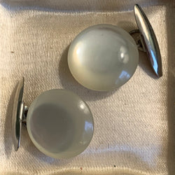 Vintage White Moon Glow Lucite Cuff Links
