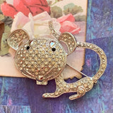 Vintage Rhinestone Mouse Figural Pin - Lady Slippers